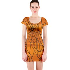 Vector Seamless Pattern With Spider Web On Orange Short Sleeve Bodycon Dress