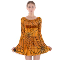Vector Seamless Pattern With Spider Web On Orange Long Sleeve Skater Dress