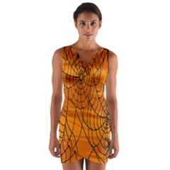 Vector Seamless Pattern With Spider Web On Orange Wrap Front Bodycon Dress