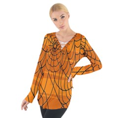 Vector Seamless Pattern With Spider Web On Orange Women s Tie Up Tee