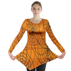 Vector Seamless Pattern With Spider Web On Orange Long Sleeve Tunic