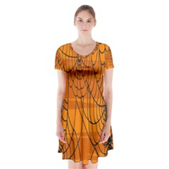 Vector Seamless Pattern With Spider Web On Orange Short Sleeve V Neck Flare Dress
