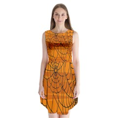 Vector Seamless Pattern With Spider Web On Orange Sleeveless Chiffon Dress