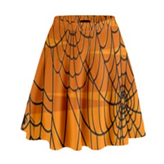 Vector Seamless Pattern With Spider Web On Orange High Waist Skirt