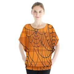 Vector Seamless Pattern With Spider Web On Orange Blouse
