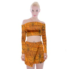 Vector Seamless Pattern With Spider Web On Orange Off Shoulder Top With Skirt Set