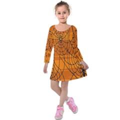Vector Seamless Pattern With Spider Web On Orange Kids  Long Sleeve Velvet Dress