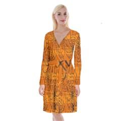 Vector Seamless Pattern With Spider Web On Orange Long Sleeve Velvet Front Wrap Dress