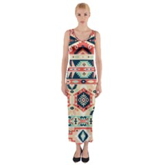 Aztec Pattern Copy Fitted Maxi Dress