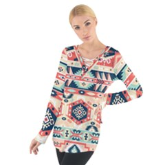 Aztec Pattern Copy Women s Tie Up Tee