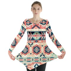 Aztec Pattern Copy Long Sleeve Tunic