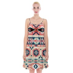 Aztec Pattern Copy Spaghetti Strap Velvet Dress