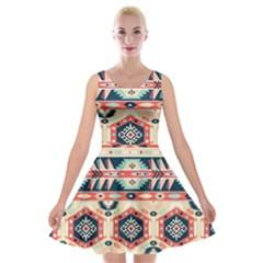 Aztec Pattern Copy Velvet Skater Dress