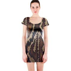 Snake Skin O Lay Short Sleeve Bodycon Dress