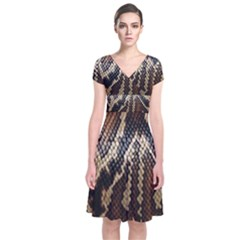 Snake Skin O Lay Short Sleeve Front Wrap Dress
