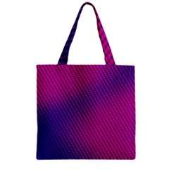 Purple Pink Dots Zipper Grocery Tote Bag