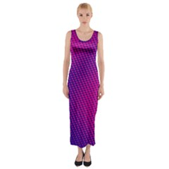 Purple Pink Dots Fitted Maxi Dress