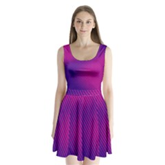 Purple Pink Dots Split Back Mini Dress