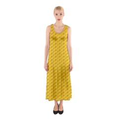 Yellow Dots Pattern Sleeveless Maxi Dress