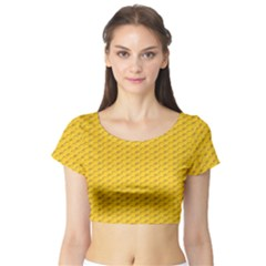 Yellow Dots Pattern Short Sleeve Crop Top (tight Fit)