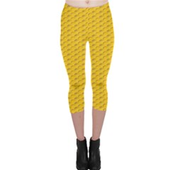Yellow Dots Pattern Capri Leggings