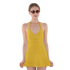 Yellow Dots Pattern Halter Swimsuit Dress