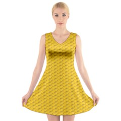 Yellow Dots Pattern V Neck Sleeveless Skater Dress