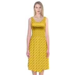 Yellow Dots Pattern Midi Sleeveless Dress
