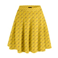 Yellow Dots Pattern High Waist Skirt