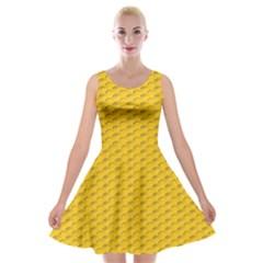 Yellow Dots Pattern Velvet Skater Dress