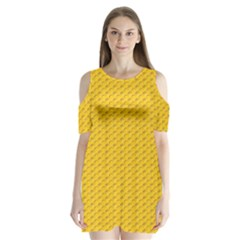 Yellow Dots Pattern Shoulder Cutout Velvet  One Piece