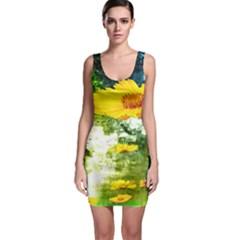 Yellow Flowers Sleeveless Bodycon Dress