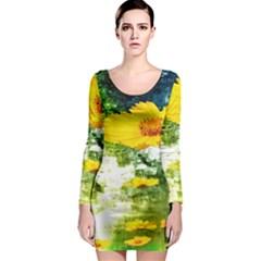 Yellow Flowers Long Sleeve Bodycon Dress