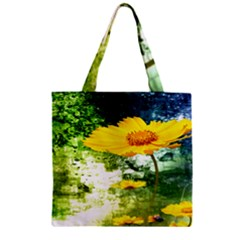 Yellow Flowers Zipper Grocery Tote Bag