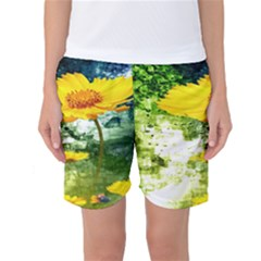 Yellow Flowers Women s Basketball Shorts