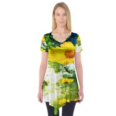 Yellow Flowers Short Sleeve Tunic