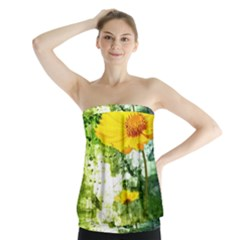Yellow Flowers Strapless Top