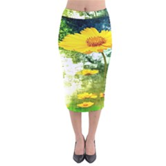 Yellow Flowers Velvet Midi Pencil Skirt