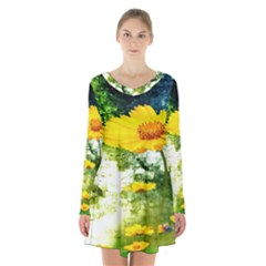 Yellow Flowers Long Sleeve Velvet V Neck Dress