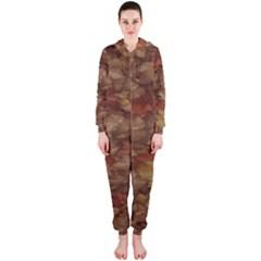 Brown Texture Hooded Jumpsuit (Ladies)