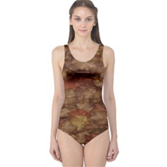 Brown Texture One Piece Swimsuit