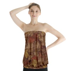 Brown Texture Strapless Top