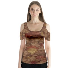 Brown Texture Butterfly Sleeve Cutout Tee