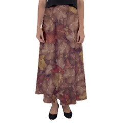 Brown Texture Flared Maxi Skirt