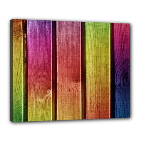 Colourful Wood Painting Canvas 20  x 16