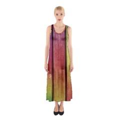 Colourful Wood Painting Sleeveless Maxi Dress