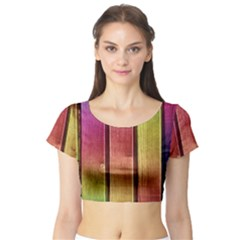 Colourful Wood Painting Short Sleeve Crop Top (Tight Fit)