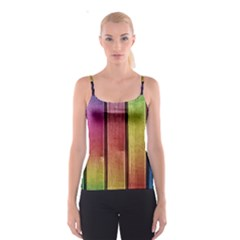 Colourful Wood Painting Spaghetti Strap Top