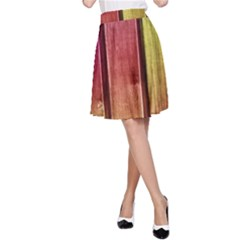 Colourful Wood Painting A Line Skirt
