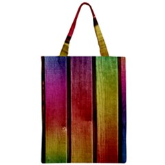 Colourful Wood Painting Zipper Classic Tote Bag